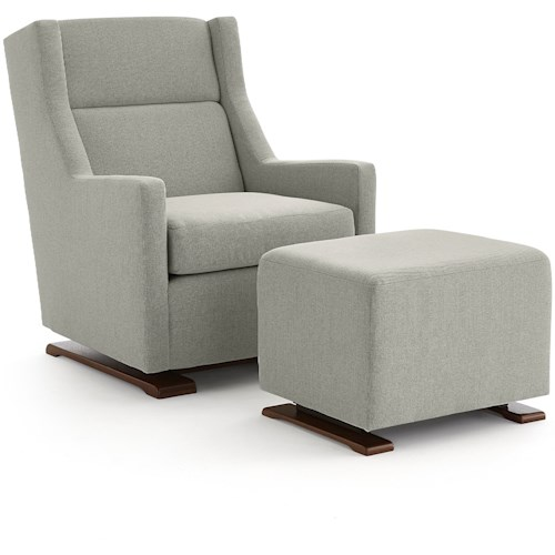 Best Home Furnishings Mandini Casual Swivel Gliding Chair with Wood Runners and Gliding Ottoman