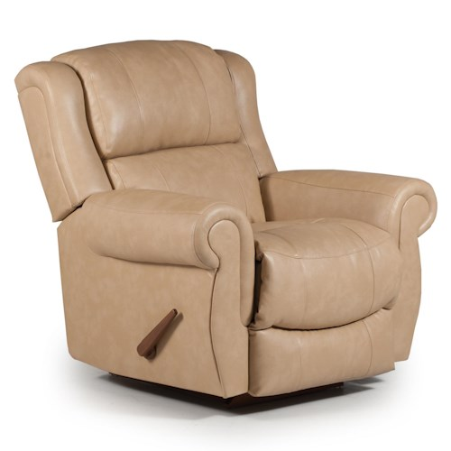 Best Home Furnishings Recliners - Medium Terrill Power Rocker Recliner with Rolled Arms