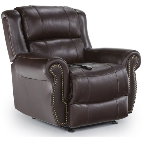 Best Home Furnishings Medium Recliners Terrill Power Space Saver Recliner with Rolled Arms