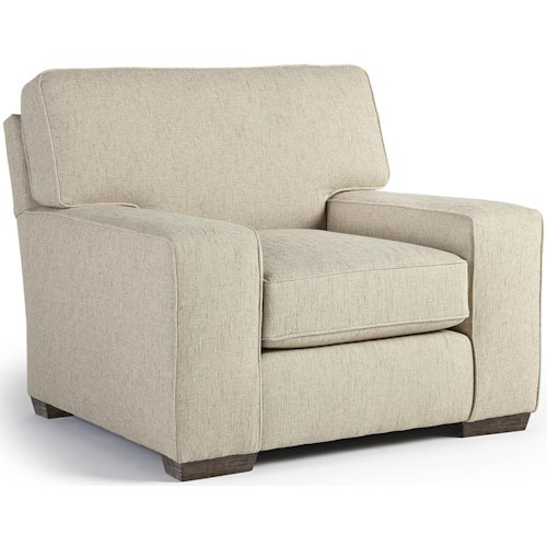 Best Home Furnishings Millport Casual Club Chair with Welt Cords and Exposed Wood Block Feet