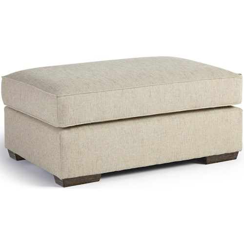Best Home Furnishings Millport Ottoman with Welt Cords and Exposed Wood Block Feet