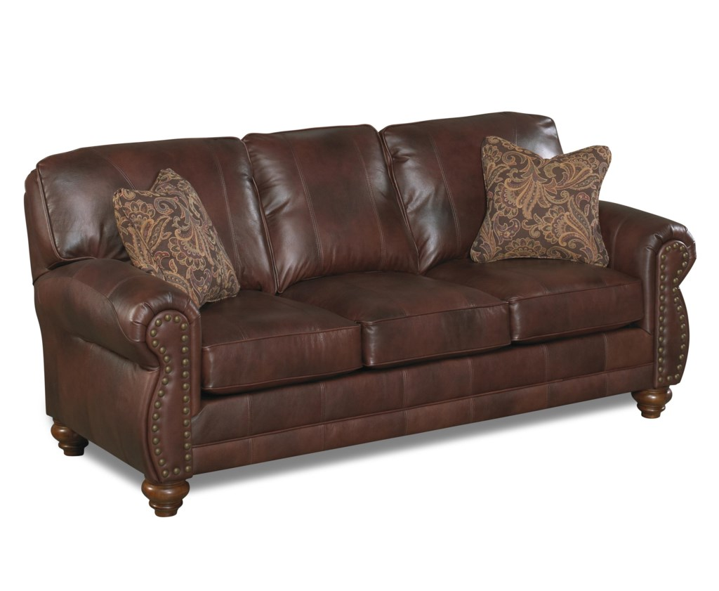 Best Home Furnishings Noble S64lu Stationary Leather Sofa With  ~ Leather Sofa With Nailheads