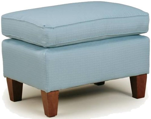 Best Home Furnishings Ottomans Contemporary Rectangular Cushioned Ottoman with Exposed Wood Feet