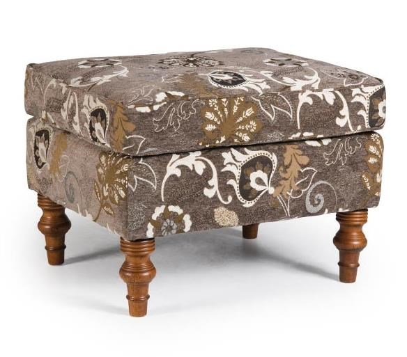 Ottoman with Turned Wood Feet