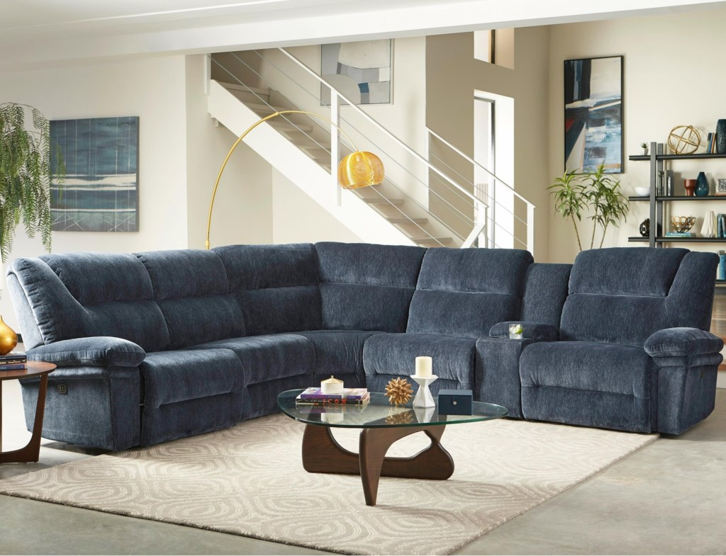 Studio 47 Parker Six Piece Power Reclining Sectional Sofa With  ~ Power Motion Sectional Sofa