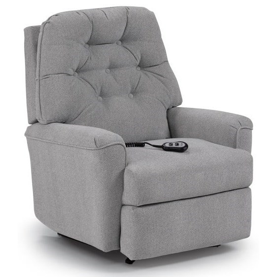 Best home furnishings petite recliners cara rocker recliner with button tufted seat back