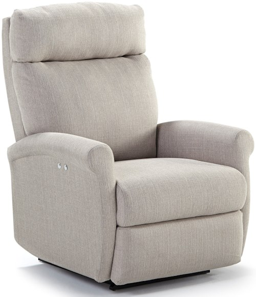 Best Home Furnishings Recliners - Petite Power Space Saver Wall Recliner with Rolled Arms