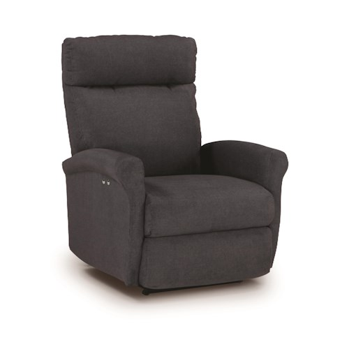 Best Home Furnishings Recliners - Petite Power Rocking Recliner With Rolled Arms