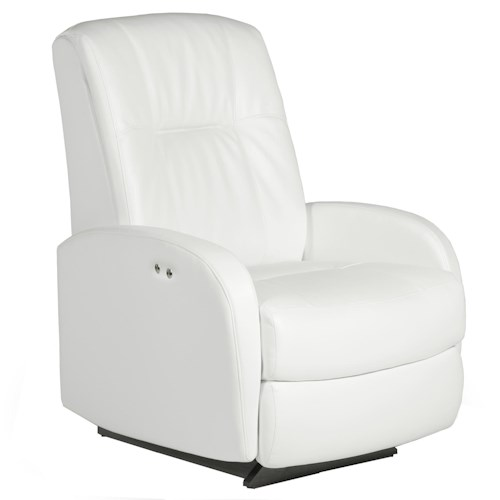 Best Home Furnishings Recliners - Petite Ruddick Power Rocker Recliner with Line Tufting