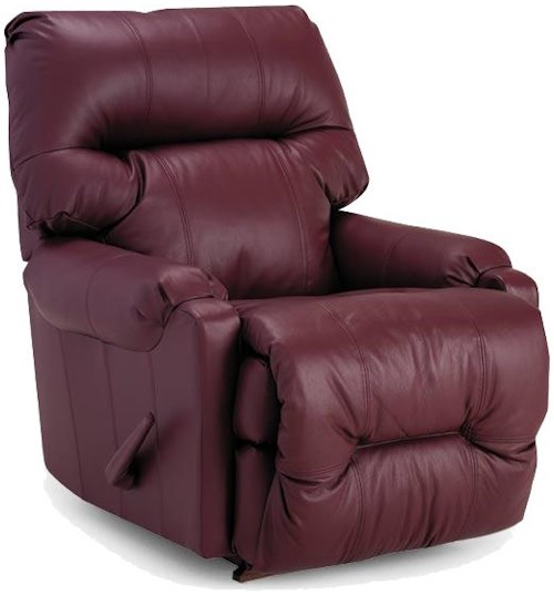 Best Home Furnishings Recliners - Petite Dewey Leather Space Saver Recliner with Power