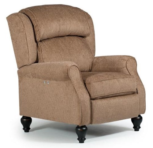 Best home furnishings recliners pushback traditional patrick powerized recliner with turned wood legs