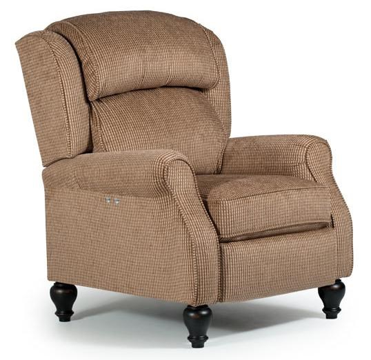 Best Home Furnishings Recliners   Pushback Traditional Patrick Powerized  Recliner With Turned Wood Legs Chair ...