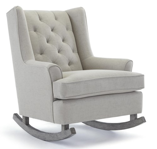 Minimalist Best Home Furnishings Runner Rockers Paisley Button Tufted Rocking Chair with Wood Runners Ideas - Model Of wooden rocking chair for nursery For Your Plan