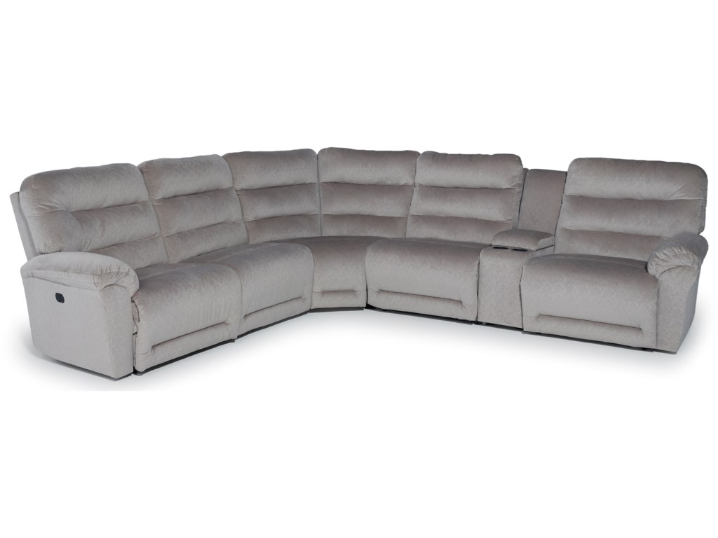 Best Home Furnishings Shelby6 Pc Pwr Reclining Sofa w/ Console & Head