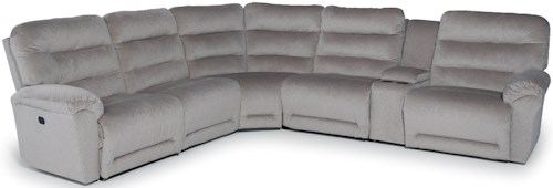 Best Home Furnishings Shelby Six Piece Reclining Sectional Sofa with Cupholder Storage Console