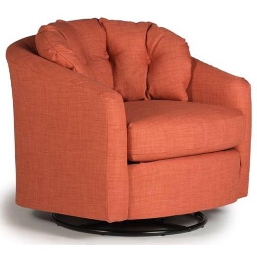 Best Home Furnishings Chairs   Swivel Barrel Sanya Swivel Barrel Chair