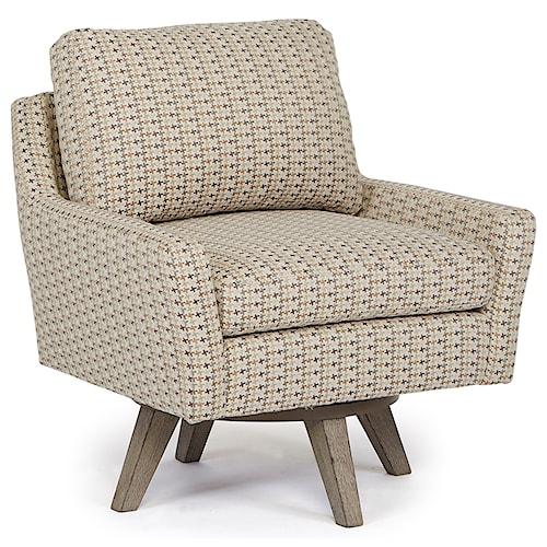 Best Home Furnishings Chairs - Swivel Barrel Seymour Mid Century Modern Chair with Swivel Base