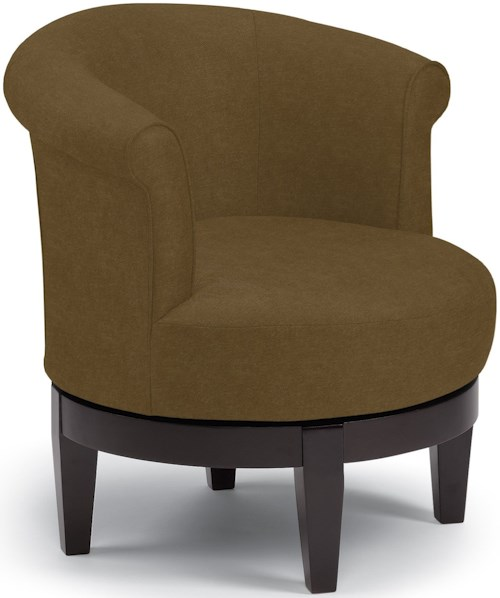 Best Home Furnishings Chairs - Swivel Barrel Chic Attica Swivel Chair with Traditional Rolled Chair Back