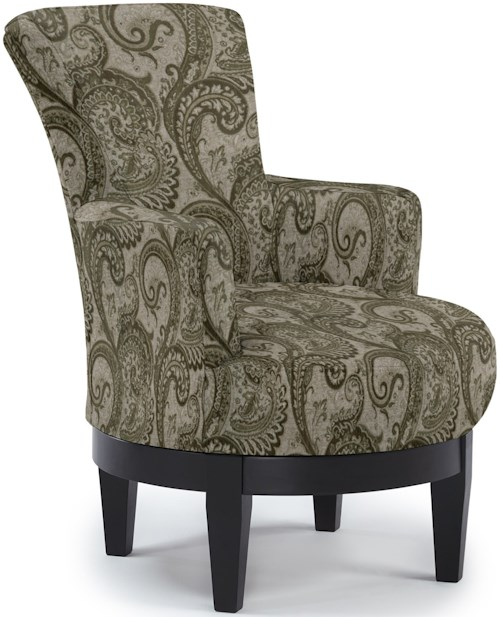 Best Home Furnishings Chairs - Swivel Barrel Justine Swivel Chair with Chic, Flared Arms