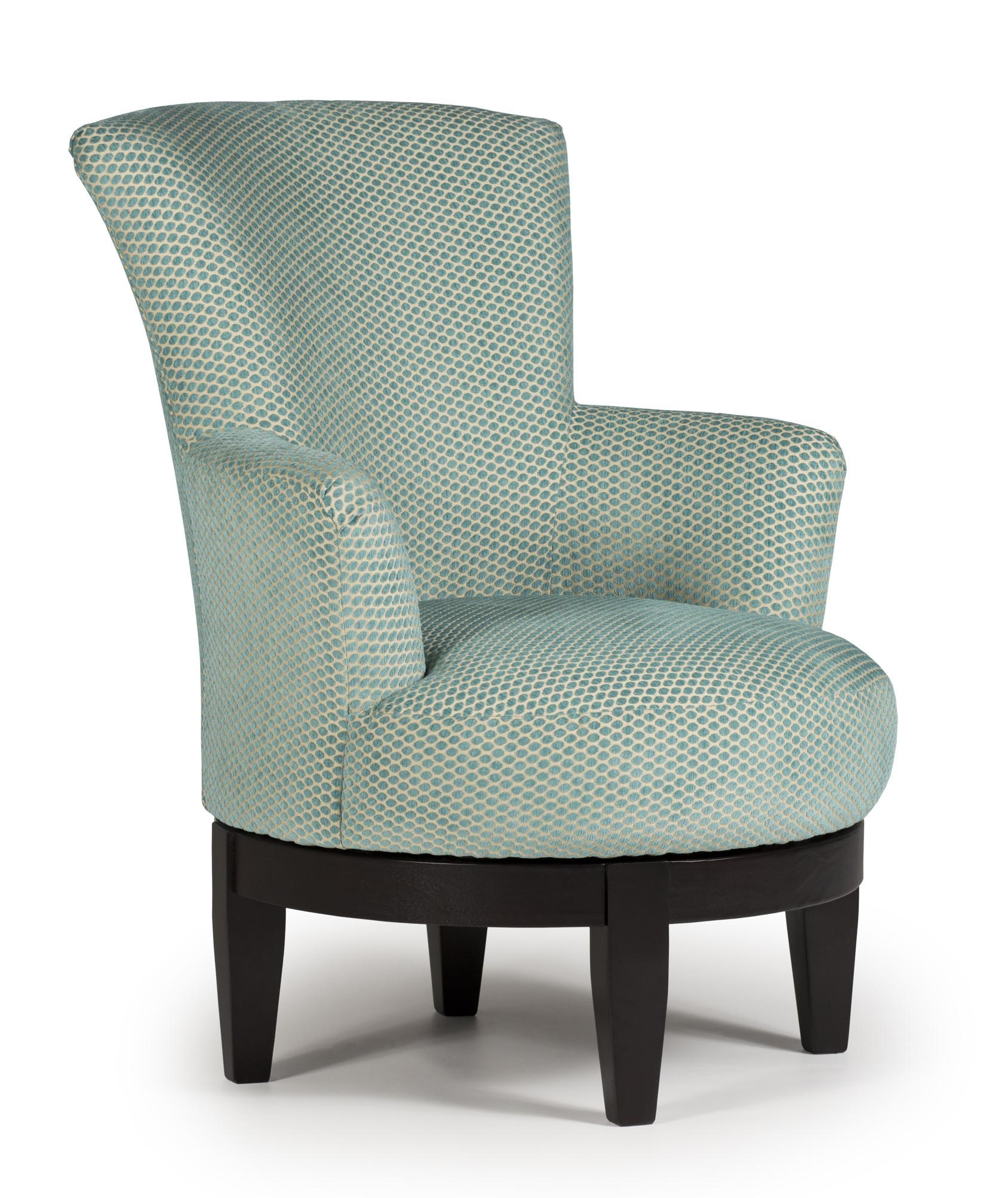 Best Home Furnishings Chairs   Swivel Barrel Justine Swivel Chair With  Chic, Flared Arms
