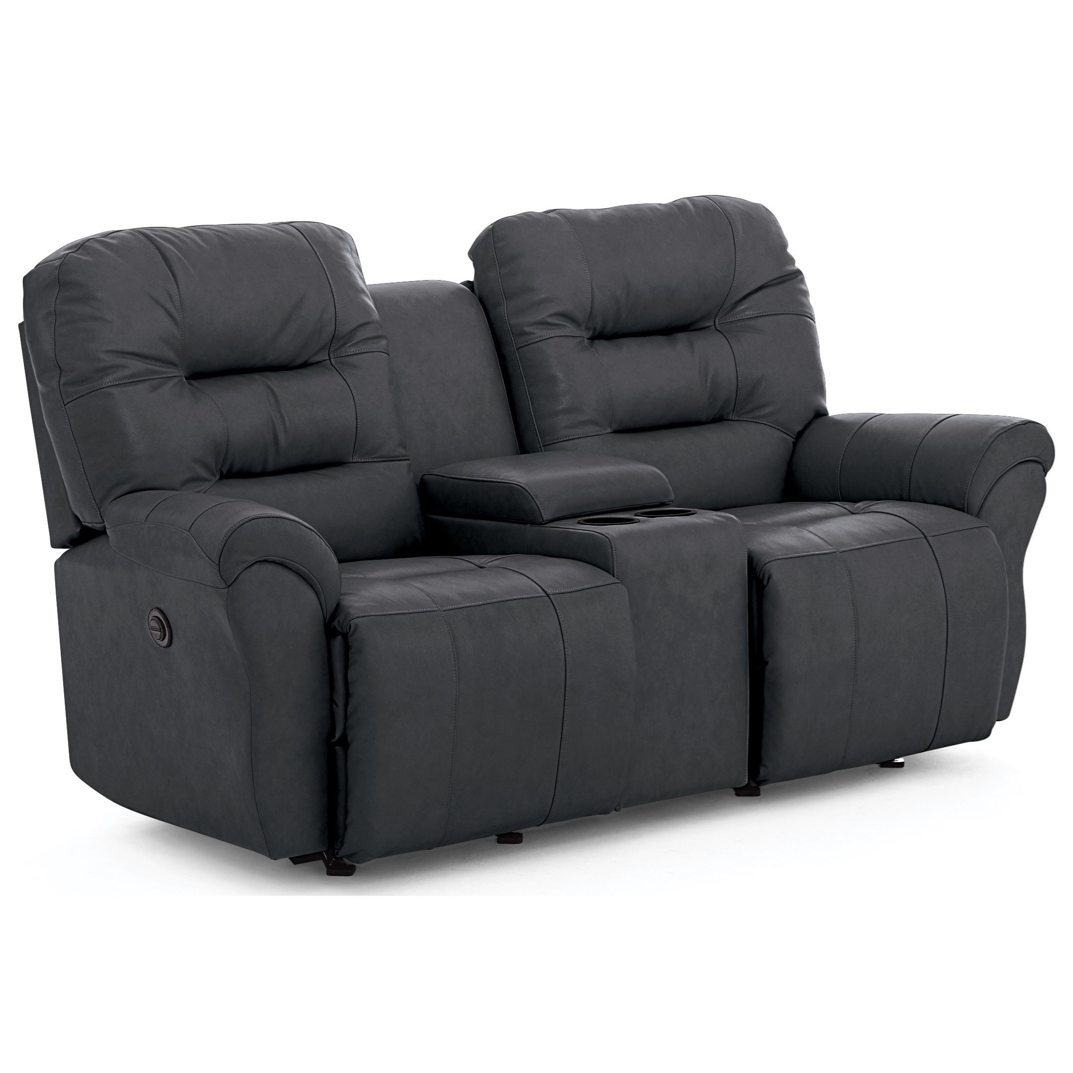 Casual Power Rocking Reclining  Loveseat with Cupholder Storage Console