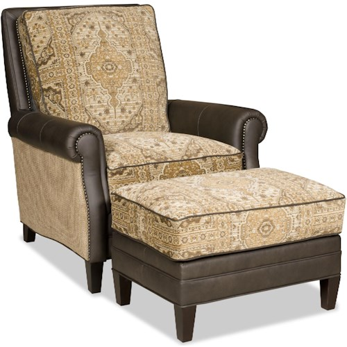Bradington Young Aiden Transitional Reclining Chair and Ottoman Set with Nailheads