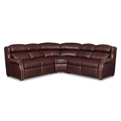 Bradington Young Armando Traditional Leather Three Piece Reclining Sectional Sofa with Power
