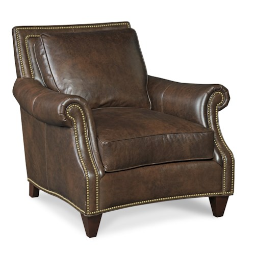 Bradington Young Bates 568 Traditional Leather Chair with Turned Arms, Nail Head Trim and Tapered Wood Feet
