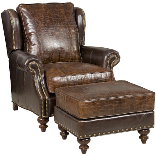 Bradington Young Bosworth Traditional Vari-Tilt Recliner and Ottoman Set with Nailhead Studs and Turned Legs