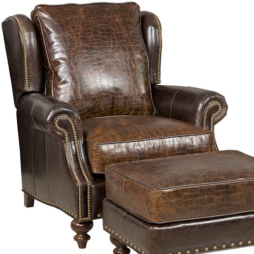 Bradington Young Bosworth Traditional Vari-tilt Recliner with Wing Back and Nailhead Studs