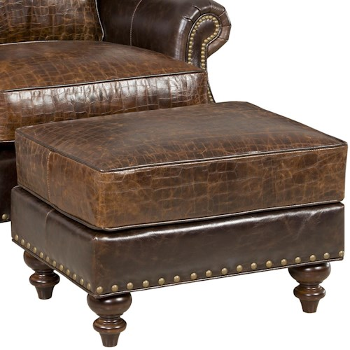 Bradington Young Bosworth Traditional Ottoman with Nailheads and Turned Legs