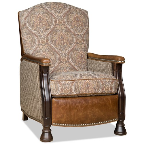 Bradington Young Chairs That Recline Homestead High Leg Lounger with Brass Nails