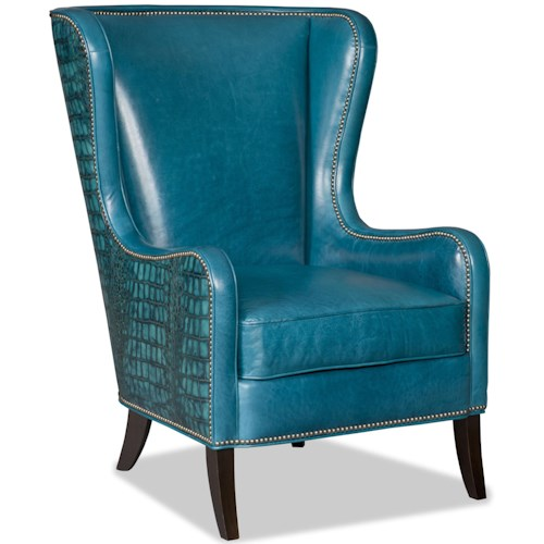 Bradington Young Club Chairs Aurora Chair with Flared Wing Back and Nailhead Trim