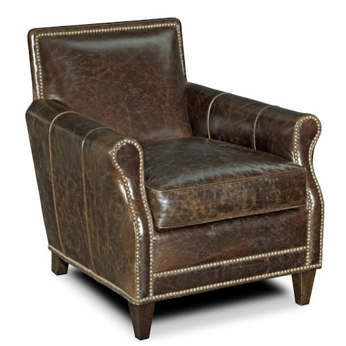 Bradington Young Corbeau Tight Back Rolled Arm Club Chair with Bold Nail Head