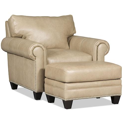 Bradington Young Daylen Customizable Rolled Arm Chair and Ottoman Set
