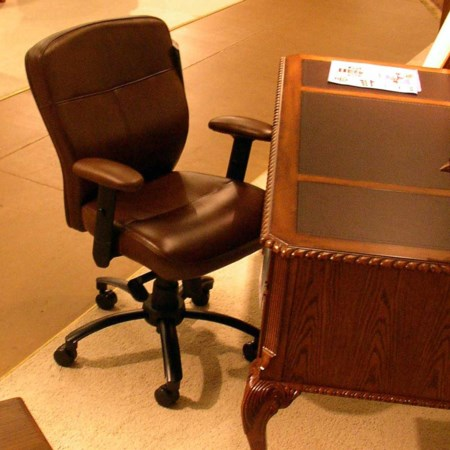 Adjustable-Height Leather Executive Chair