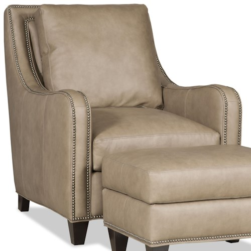Bradington Young Greco Transitional Chair with Curved Track Arms and All-Over Nailheads