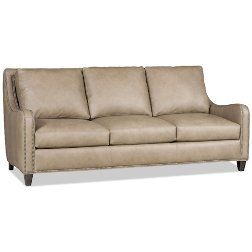 Bradington Young Greco Transitional Sofa with Curved Track Arms and All-Over Nailheads