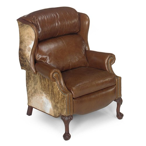 Bradington Young Hair On Hide Ball & Claw Reclining Wing Chair