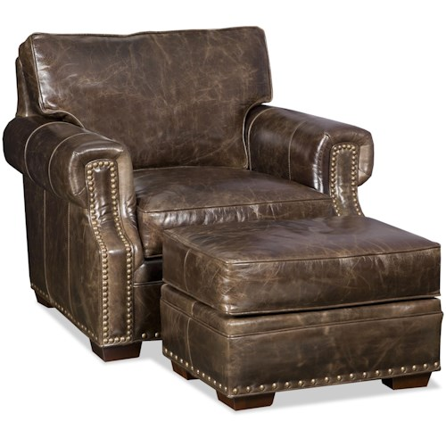 Bradington Young Jude Chair and Ottoman with Nailhead Trim