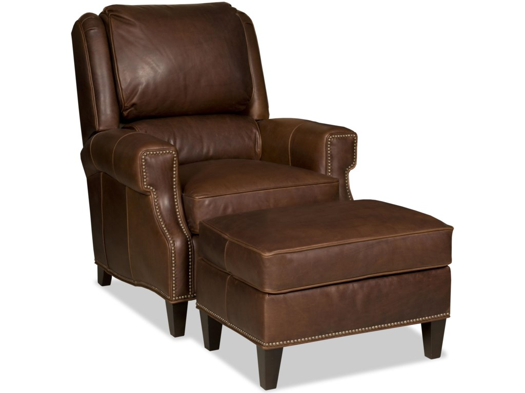 Bradington Young Milo Transitional Reclining Chair And Ottoman Set With Nailheads
