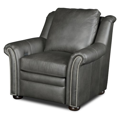 Bradington Young Newman Transitional Power Reclining Chair with Nailheads