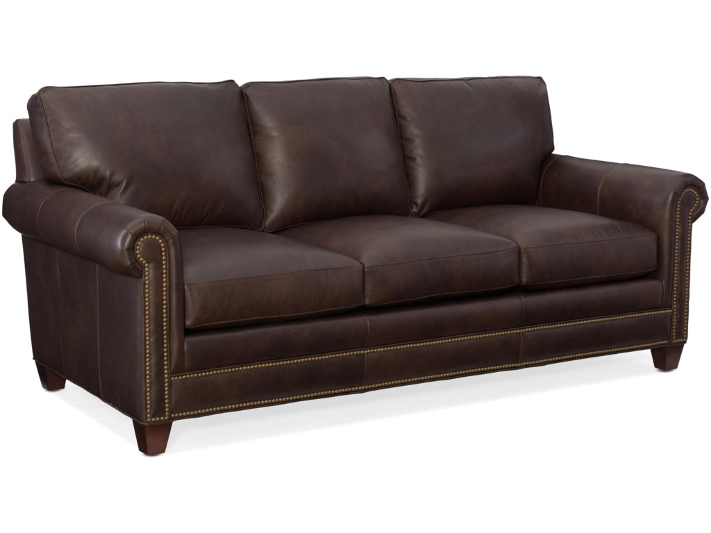 Bradington Young Raylen Traditional Leather Sofa with Nail ...