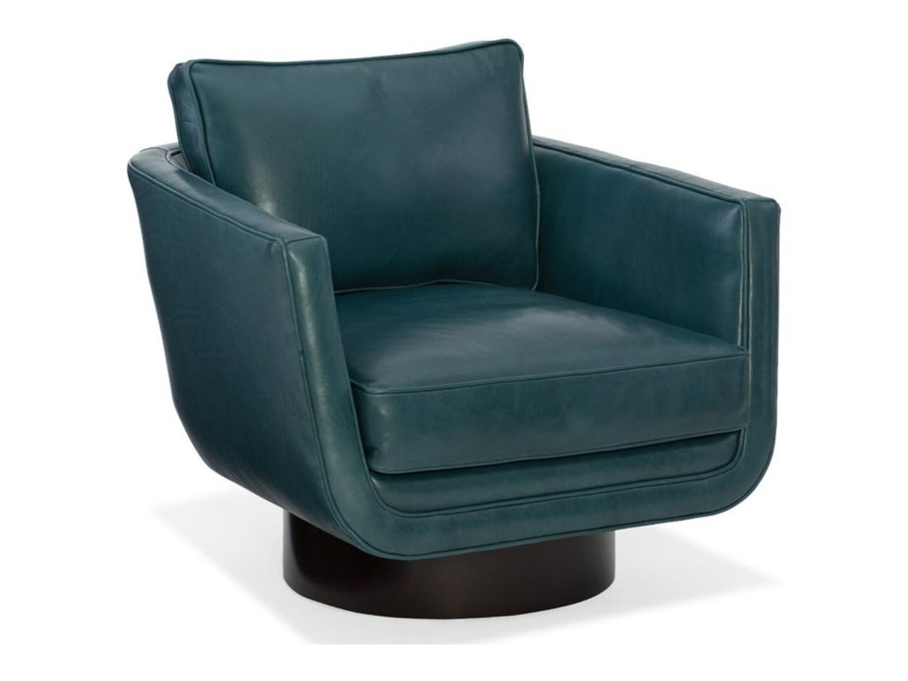 Bradington Young Sheldon 326 25sw Modern Swivel Chair With Wood Pedestal Base Thornton Furniture Upholstered Chairs