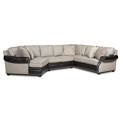 Bradington Young Warner  Three Piece Sectional Sofa with LAF Cuddler