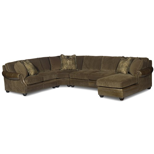 Bradington Young Warner  Sectional Air Dream Sleeper Sofa with Right-Side Chaise