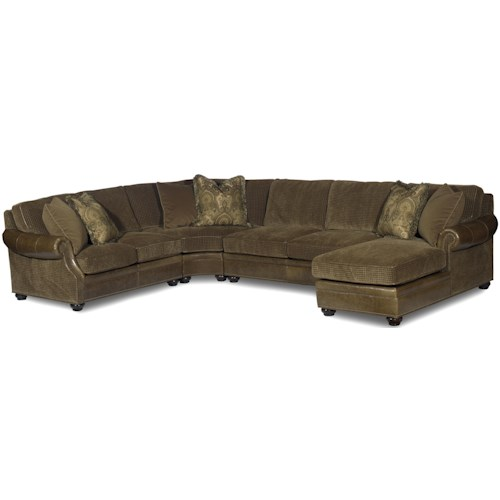 Bradington Young Warner Sectional Air Dream Sleeper Sofa With Right Side Chaise
