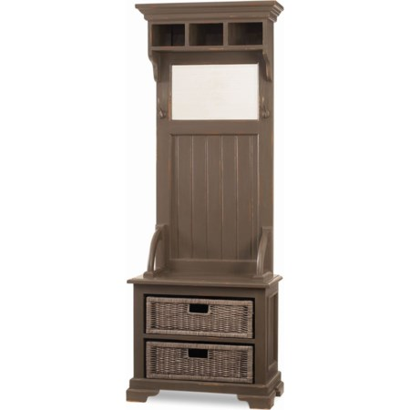 Narrow Hallstand with Rattan Baskets
