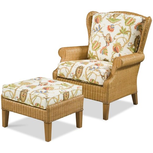 Braxton Culler 1079 High Back Chair & Wicker Ottoman
