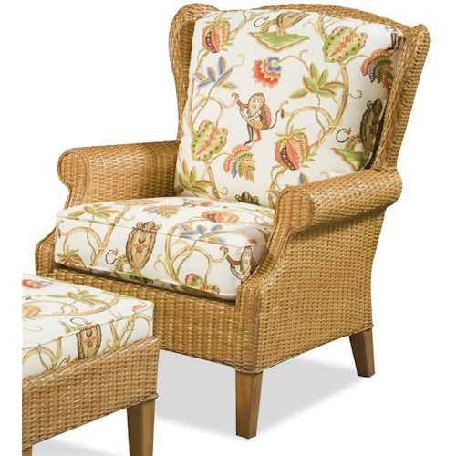 Braxton Culler 1079 High Back Chair with Wicker Frame